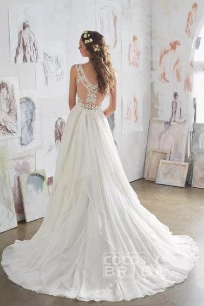 Straps V Neck Illusion Chiffon Beach Gown Cheap Wedding Dress_2