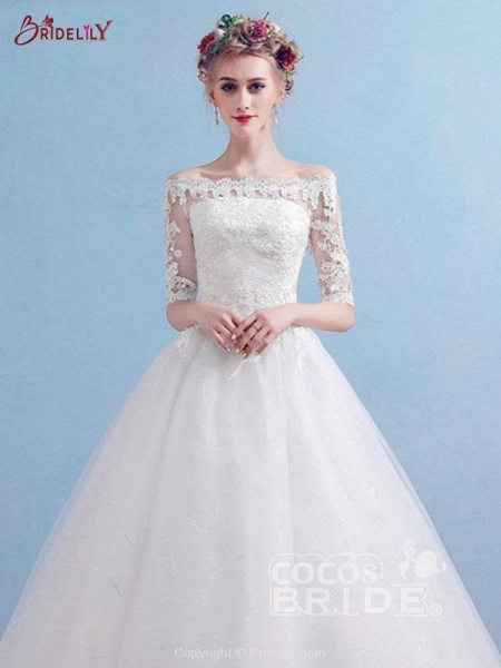 Elegant Off-the-Shoulder Long Sleeves Lace Ball Gown Wedding Dresses_4