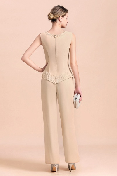 Two Pieces Champagne Long Sleeve Chiffon Mother of the Bride Dress With Jacket_8