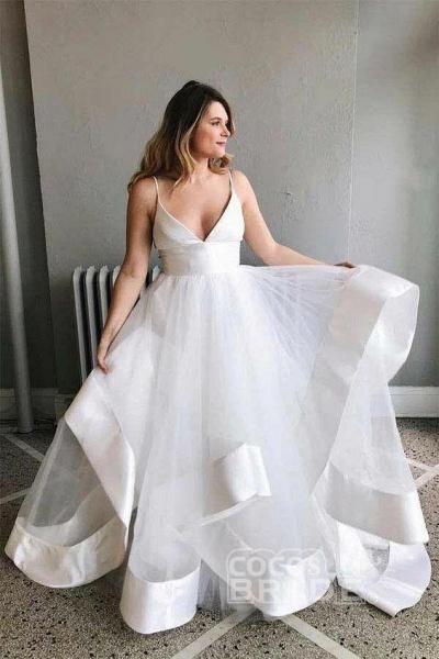 White Sapghetti Straps Beach Dress Sexy Simple Boho Wedding Dresss_2