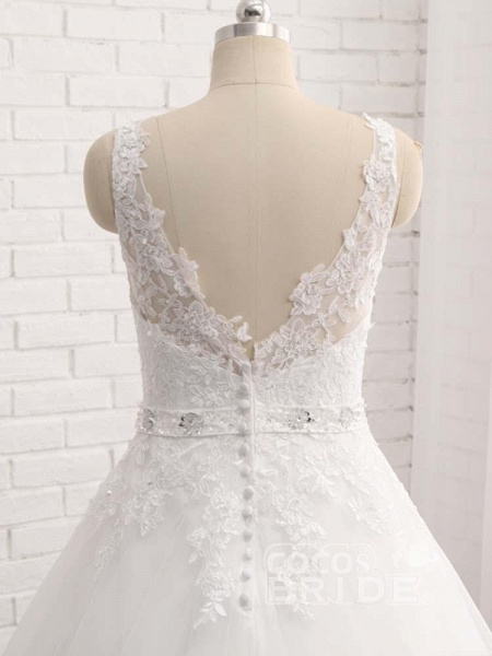V-Neck Beaded Backless Lace A-Line Wedding Dresses_5