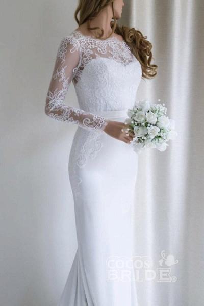 Elegant Illusion Lace Long Sleeves Mermaid Wedding Dress_2