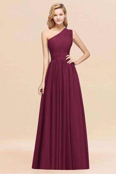 Elegant A-Line Burgundy Chiffon One-Shoulder Sleeveless Ruffles Floor-Length Bridesmaid Dresses_44