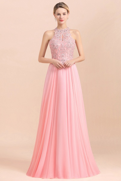 Pears Crystal A Line Halter Wedding Dresses Lace Wedding Gowns_10