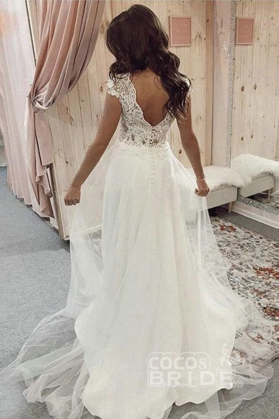 A Line V Neck Tulle Beach with Ivory Lace Top Long Wedding Dress_2