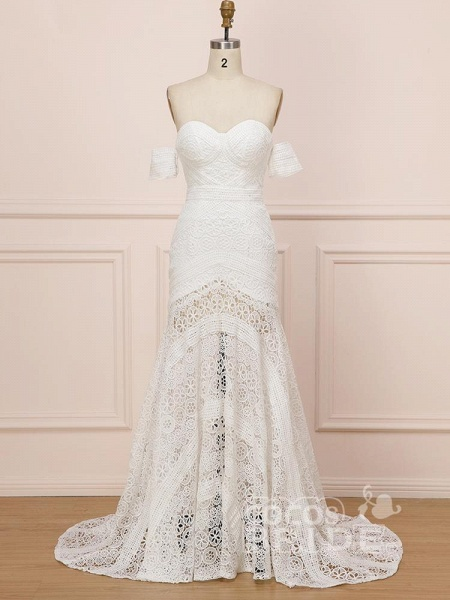 Elegant Sweetheart Lace Mermaid Boho Wedding Dresses_2