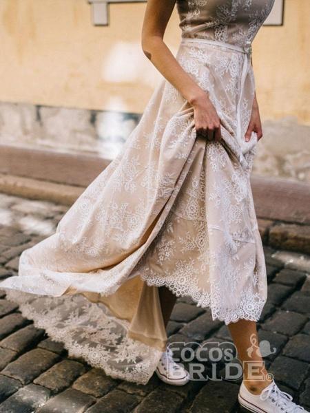 Boho Chic A Line Cap Sleeve Lace Wedding Dresses_5