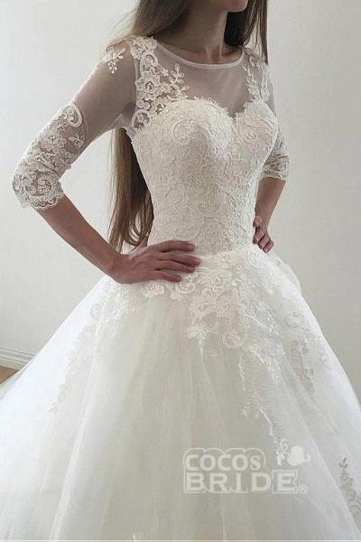 Ivory Puffy Half Sleeves Long Vintage Tulle Bateau Appliques Wedding Dress_5