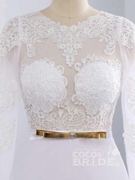 Elegant Long Sleeves Lace Mermaid Sashes Wedding Dresses_4