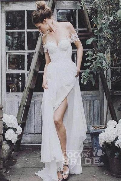 Simple Cheap Flowy Appliques Beach Wedding Dress_2