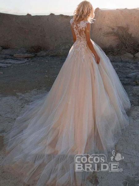 Lace Appliques Tulle Wedding Dresses_2