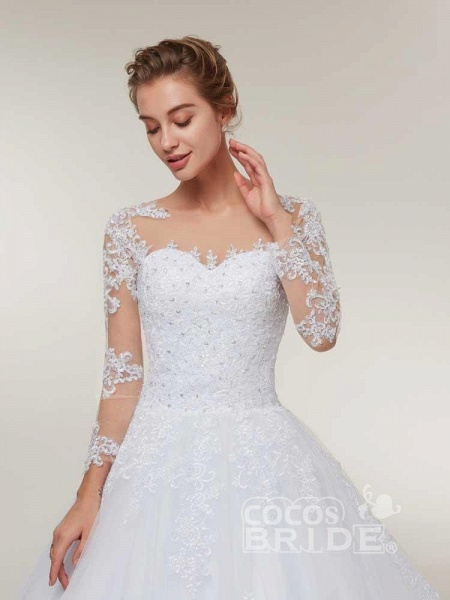Glamorous Long Sleeves Lace-Up Ball Gown Wedding Dresses_5