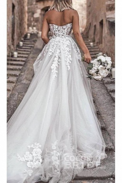 Boho Sweetheart Tulle Long Beach Charming Appliques Wedding Dress_6