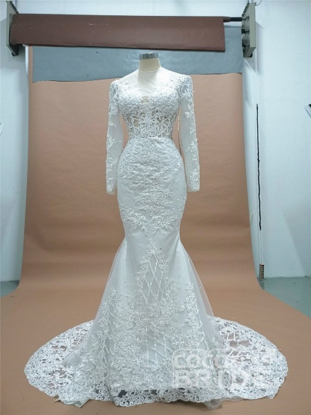 Modest Long Sleeves Lace Appliques Mermaid Wedding Dresses_3