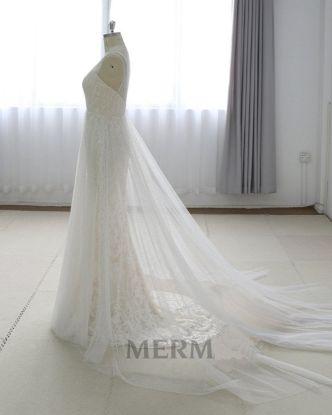 Simple White Lace V Neck Long Halteres Long Wedding Dress_3