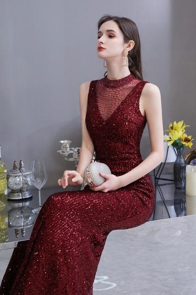 Gorgeous Mermaid Burgundy Sequins Long Prom Dress_7