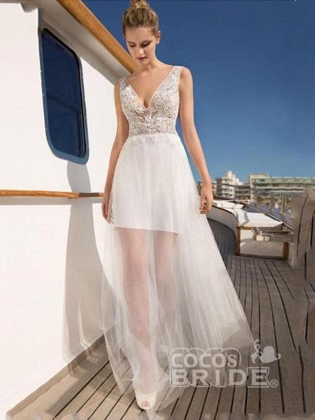V Neck Sleeveless Backless Boho Wedding Dresses_3