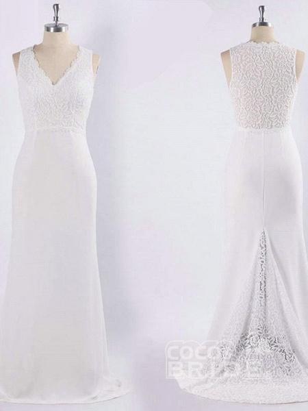 Elegant V Neck Lace Mermaid Wedding Dresses_5
