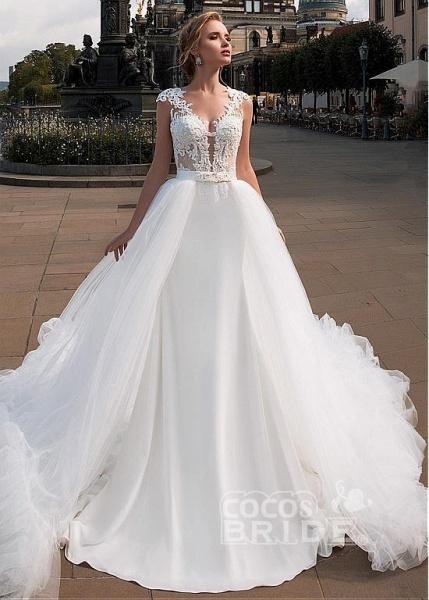 Romantic V Neck Lace Appliques Covered Button A-Line Wedding Dresses_5