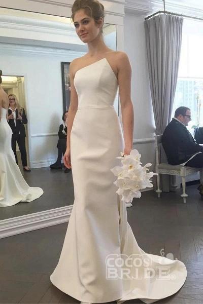 Simple Strapless Mermaid Long Elegant Ivory Sweep Train Wedding Dress_2