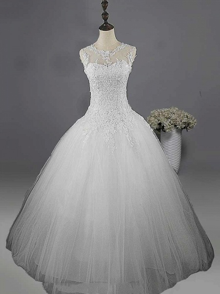 Glamorous Lace Ball Gown Tulle Wedding Dresses_1
