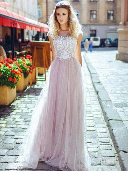 Romantic Off- the-Shoulder Lace Appliques A-Line Wedding Dresses_1