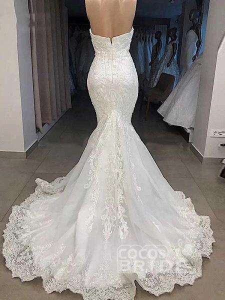 Elegant Sweetheart Short Sleeves Lace Mermaid Wedding Dresses_2