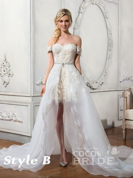 Lovely Lace Mermaid Wedding Dresses With Detachable Skirts_4