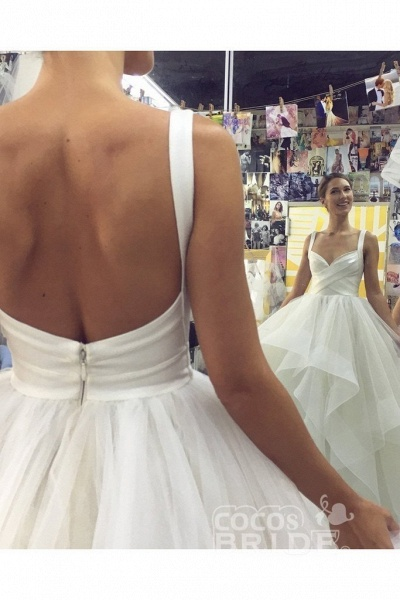 Puffy Straps Long Beach Unique Cascading Ruffles Wedding Dress_2