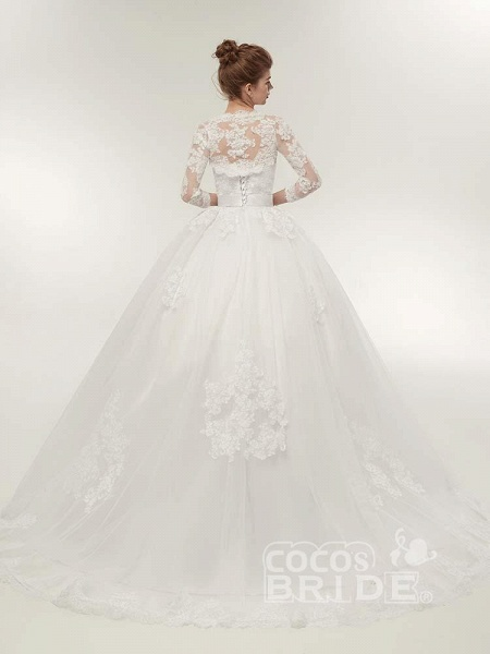 Off-The-Shoulder Lace Ball Gown Wedding Dresses_4