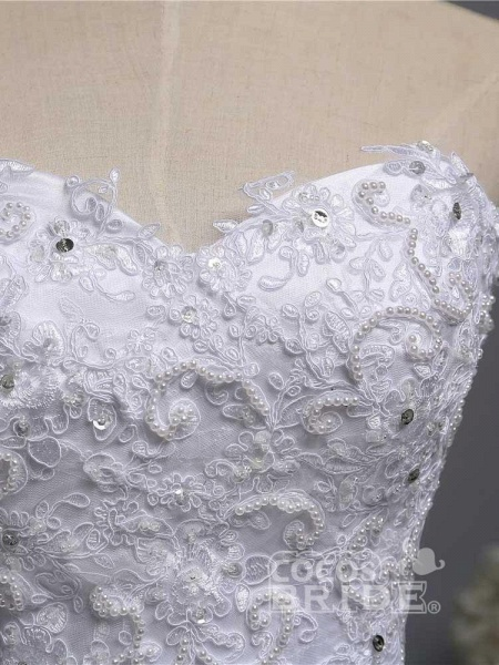 Gorgeous Sweetheart Beaded Tulle Ball Gown Wedding Dresses_4