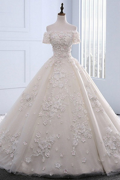 Ivory Strapless Sweep Train Off Shoulder Lace Wedding Dress With Sleeves_1