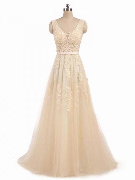 Glamorous V-Neck Lace Ribbon A-line Wedding Dresses_1