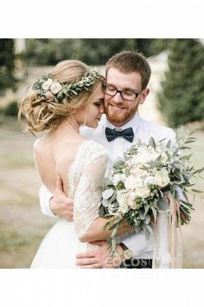 Puffy Half Sleeves Backless Floor Length Long Beach Wedding Dress_4