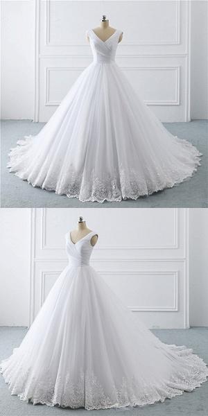 Unique White Lace V Neck Puffy Sweep Train Wedding Dress_5