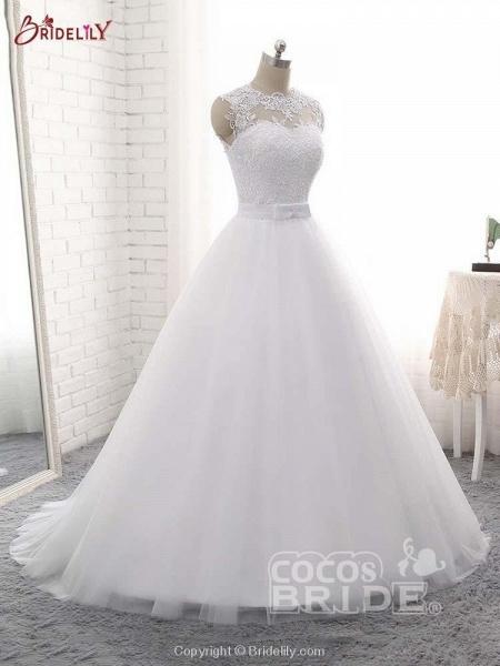 Elegant V-Neck Ball Gown Tulle Wedding Dresses_2