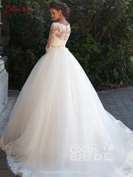 Gorgeous Half Sleeves Covered Button Ball Gown Wedding dresses_2