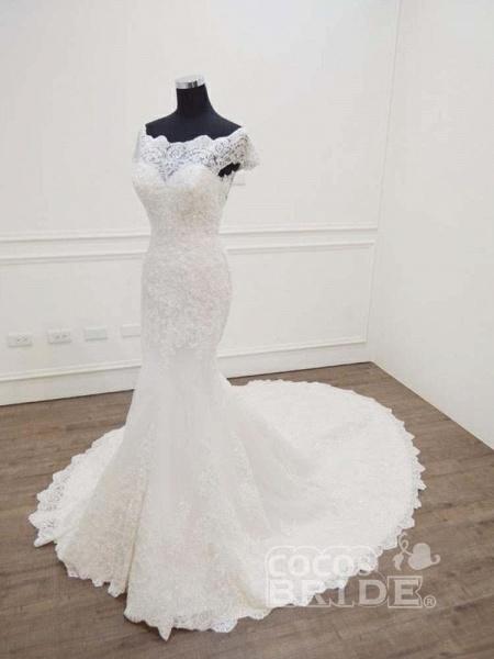 Gorgeous Bateau  Lace Mermaid Sweep Train Wedding Dresses_4