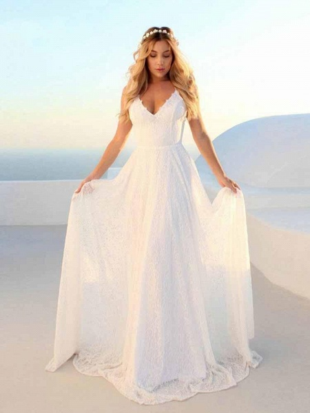 Glamorous V-Neck Backless Lace A-Line Wedding Dresses_1