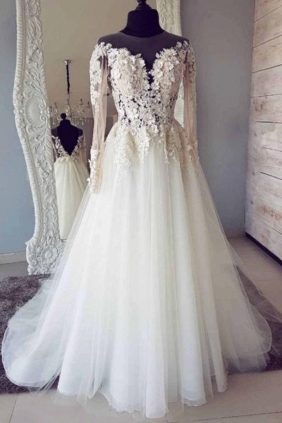 White Tulle Lace Long Round Neck Customize Wedding Dress_1