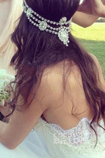 Chic Boho Beach Sweetheart Lace A Line Wedding Dress_2