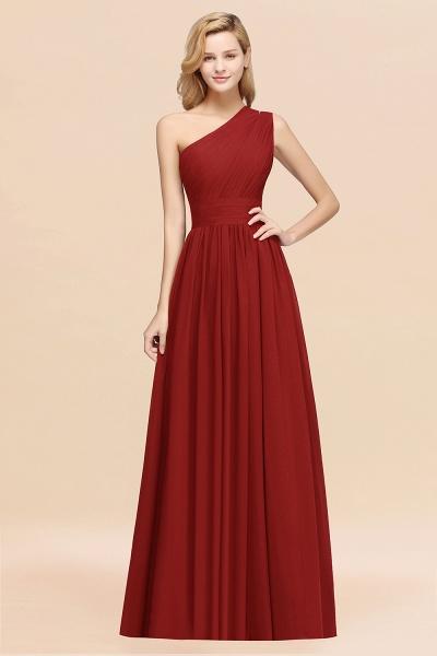 Elegant A-Line Burgundy Chiffon One-Shoulder Sleeveless Ruffles Floor-Length Bridesmaid Dresses_48