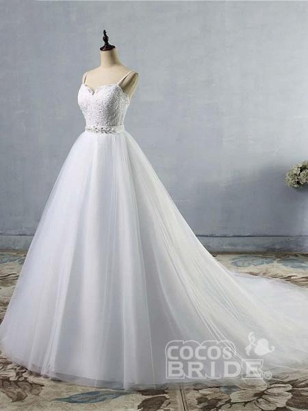 Elegant Spaghetti-Strap Lace Sashes Tulle Wedding Dresses_4
