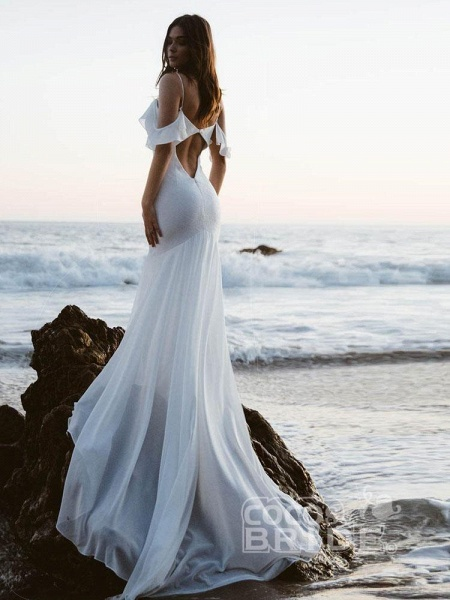 Spaghetti Straps Backless Mermaid Wedding Dresses_2