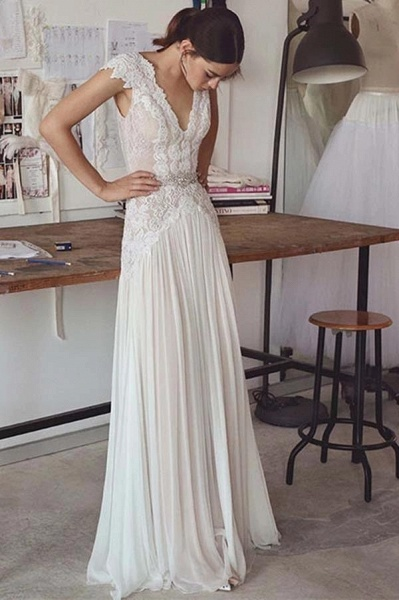 Unique V Neck Cap Sleeves Chiffon Beach Wedding Dress_1