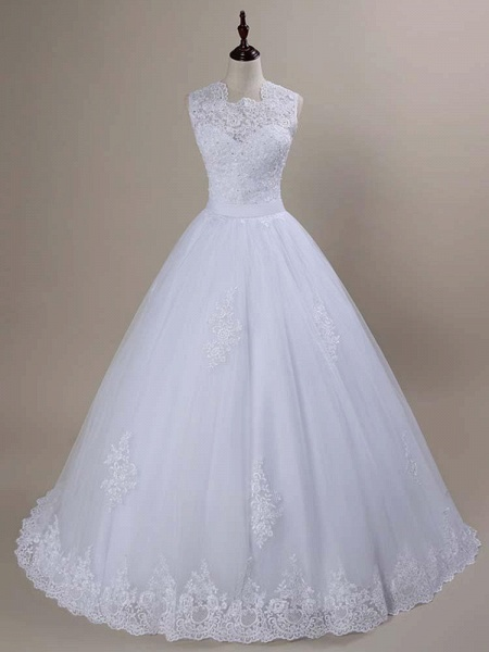 Modest Lace Covered Button Ball Gown Wedding Dresses_1