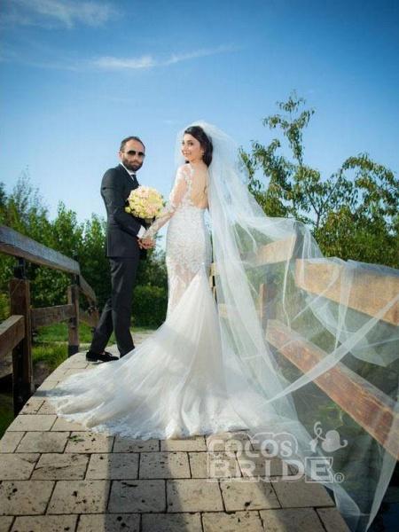 Pretty Lace Mermaid Long Sleeves Wedding Dress_3