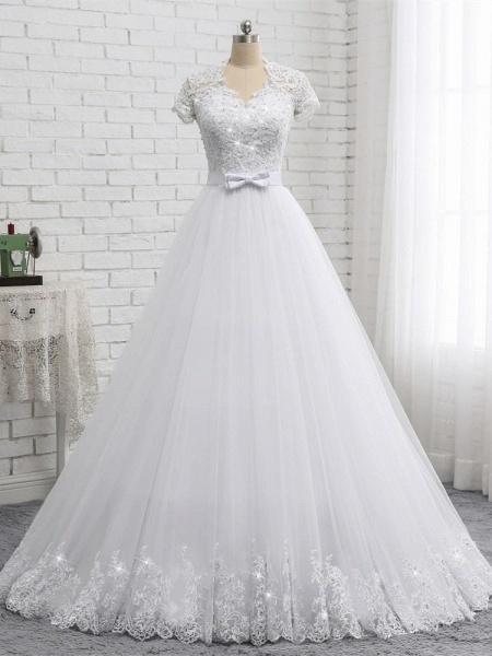 Elegant Short Sleeves Lace Beaded Tulle Wedding Dresses_1