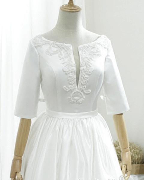 White Satin V Neck Sweep Train Pearl Wedding Dress_3