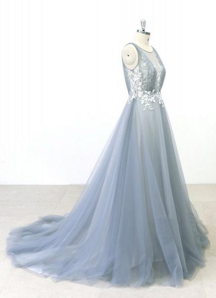Gray Tulle Round Neck Sweep Train Beach Wedding Dress_4